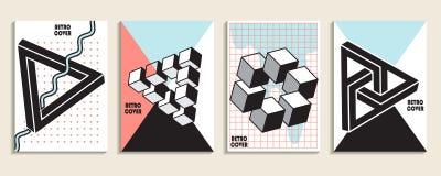 Плакаты с абстрактной жидкостью, элементы дизайна 80s Ретро искусство для крышек, знамен, рогулек и плакатов Иллюстрация вектора  стоковые изображения