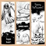 Плакаты хеллоуина с сделанными эскиз к черными элементами бесплатная иллюстрация