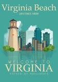Плакат американца вектора Вирджинии Добро пожаловать к Virginia Beach Стоковое Изображение