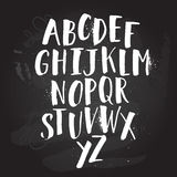 Плакат алфавита, печать каллиграфии сухих чернил щетки художническая современная Handdrawn ультрамодный дизайн Стоковые Изображения