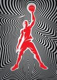 Плакат баскетбола шаблона с игроком на striped предпосылке Стоковая Фотография RF