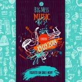 Плакат, билет или программа джазовой музыки Вручите вычерченную иллюстрацию с ходами щетки для джазового фестиваля иллюстрация вектора