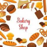 Плакат вектора магазина хлебопекарни испеченного хлеба бесплатная иллюстрация