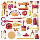 Плакат вектора оборудований для шить и Handmade иллюстрация вектора