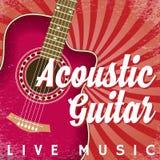 Плакат вектора ретро с свирлями и гитарой Стоковые Изображения