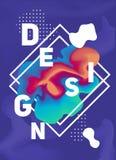 Плакат вектора цвета с жидкостными чернилами Яркие абстрактные чернила Стоковые Фото
