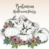Плакат вектора для богемской партии хеллоуина Череп козы с тыквами и поднял Украшенный с литерностью Стоковое Изображение RF