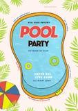 Плакат вечеринки у бассейна Событие лета, иллюстрация вектора фестиваля красочная, плакат Стоковая Фотография