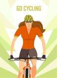Плакат велосипедиста горы гонок женщины Стоковые Фото