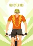 Плакат велосипедиста горы гонок победителя Стоковое Изображение