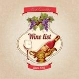 Плакат винной карты ретро Стоковое фото RF