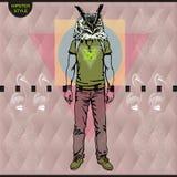 Плакат в стиле битника Иллюстрация нарисованная рукой птиц животного перемещения парня моды вектор Стоковое Изображение