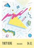 Плакат в стиле Мемфиса с геометрическими современными формами Шаблон плаката партии Иллюстрация вектора, яркий цвет Стоковое Изображение RF