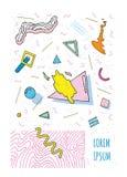Плакат в стиле 80s-90s Мемфиса с геометрическими современными формами Шаблон плаката партии Иллюстрация вектора, яркий цвет Стоковые Изображения RF