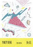 Плакат в стиле 80s-90s Мемфиса с геометрическими современными формами Шаблон плаката партии также вектор иллюстрации притяжки cor Стоковое Фото