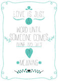 Плакат в честь дня валентинок. Сообщение к ВЛЮБЛЕННОСТИ Стоковое Фото