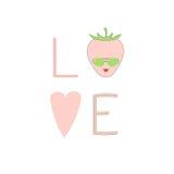 Плакат влюбленности с клубникой Стоковые Фотографии RF
