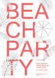 Плакат Гавайских островов партии пляжа красочный Стоковые Фото