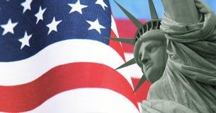 Плакат, государственный флаг США и свобода Соединенных Штатов патриотический Стоковая Фотография