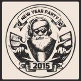 Плакат года сбора винограда Санта Клауса вектор Иллюстрация вектора