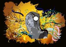 Плакат граффити на черном BG Стоковое фото RF