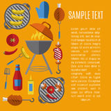 Плакат гриля барбекю, шаблон дизайна бесплатная иллюстрация