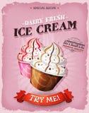 Плакат десерта мороженого Grunge и года сбора винограда Стоковое фото RF