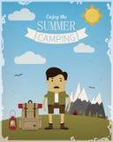 Плакат лета располагаясь лагерем Стоковые Фото