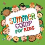 Плакат летнего лагеря также вектор иллюстрации притяжки corel Стоковые Изображения
