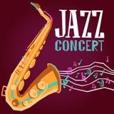 Плакат джаза с саксофоном Стоковая Фотография
