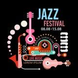Плакат джазового фестиваля Стоковые Изображения