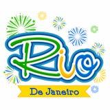 Плакат, знамя с текстом Рио-де-Жанейро Стоковое Изображение