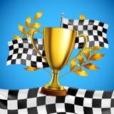 Плакат золотого трофея победителя реалистический бесплатная иллюстрация