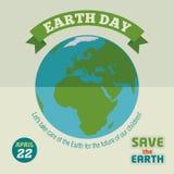 Плакат дизайна дня земли плоский Стоковое Изображение RF