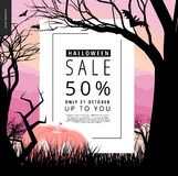 Плакат извещении о хеллоуина illustarted продажей Стоковое Изображение