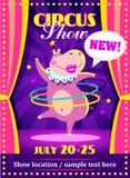Плакат или рогулька выставки цирка с гиппопотамом стоковые фото