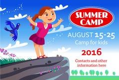 Плакат или рогулька летнего лагеря ребенк стоковое изображение rf
