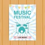 Плакат или рогулька музыкального фестиваля Плакат с музыкальными инструментами, Стоковые Изображения RF