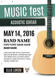Плакат концерта с акустической гитарой также вектор иллюстрации притяжки corel бесплатная иллюстрация
