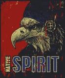 Плакат коренного американца, орел в bonnet войны Стоковая Фотография RF