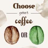 Плакат кофейных зерен акварели Стоковые Изображения RF