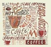 Плакат кофе акварели Стоковые Изображения RF