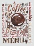Плакат кофе акварели Стоковое Изображение RF