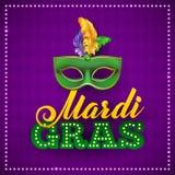 Плакат маски партии марди Гра Каллиграфия и Стоковое Фото