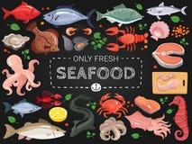 Плакат меню доски морепродуктов красочный бесплатная иллюстрация