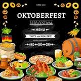 Плакат меню доски Oktoberfest немца плоский иллюстрация вектора
