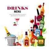 Плакат меню пить алкогольных напитков плоский иллюстрация штока