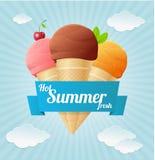Плакат мороженого лета вектора винтажный Стоковая Фотография