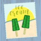 Плакат мороженого, карточка в плоском стиле дизайна Стоковое фото RF