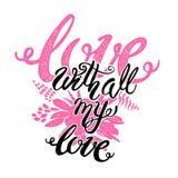 Плакат мотивировки литерности руки концепции влюбленности вдохновляющий Стоковое Изображение